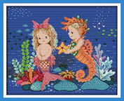 "Cross Stitch full range of embroidery starter kit including 17""x14"" 14 Count classic reserve Aida coloured threads and tools The Mermaid and Sea Horse"