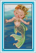 """Cross Stitch full range of embroidery starter kit including 15""""x22"""" 14 Count classic reserve Aida coloured threads and tools The Little Marmaid"""