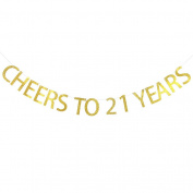 Cheers To 21 Years Banner 21st Birthday ,Wedding Anniversary Party Decoration Bunting