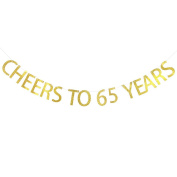 Cheers To 65 Years Banner 65th Birthday ,Wedding Anniversary Party Decoration Bunting