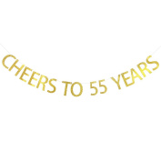 Cheers To 55 Years Banner 55th Birthday ,Wedding Anniversary Party Decoration Bunting