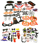 GOER Halloween Photo Booth Props 74 Pieces DIY Kit Funny Photo Booth
