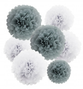 HEARTFEEL 12pcs 25cm 20cm Tissue Paper Pom-poms White Grey Outdoor Decoration Tissue Paper Pom Poms Party Balls Wedding Christmas Xmas Decoration