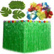 Luau Party Supplies. Table Decorations Bundle of 1 Green Hula Grass Table Skirt + 24 Hibiscus Flowers + 12 Tropical Leaves. Hawaiian, Maui, Island, Moana Themed Birthday Party Supplies