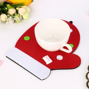 Iuhan Christmas Tree Hat Glove Shape Cup Cushion Holder Drink Xmas Placemat Pretty Mat