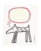 Swedish Dishcloth, BLACK DOGGY WITH HEARTS
