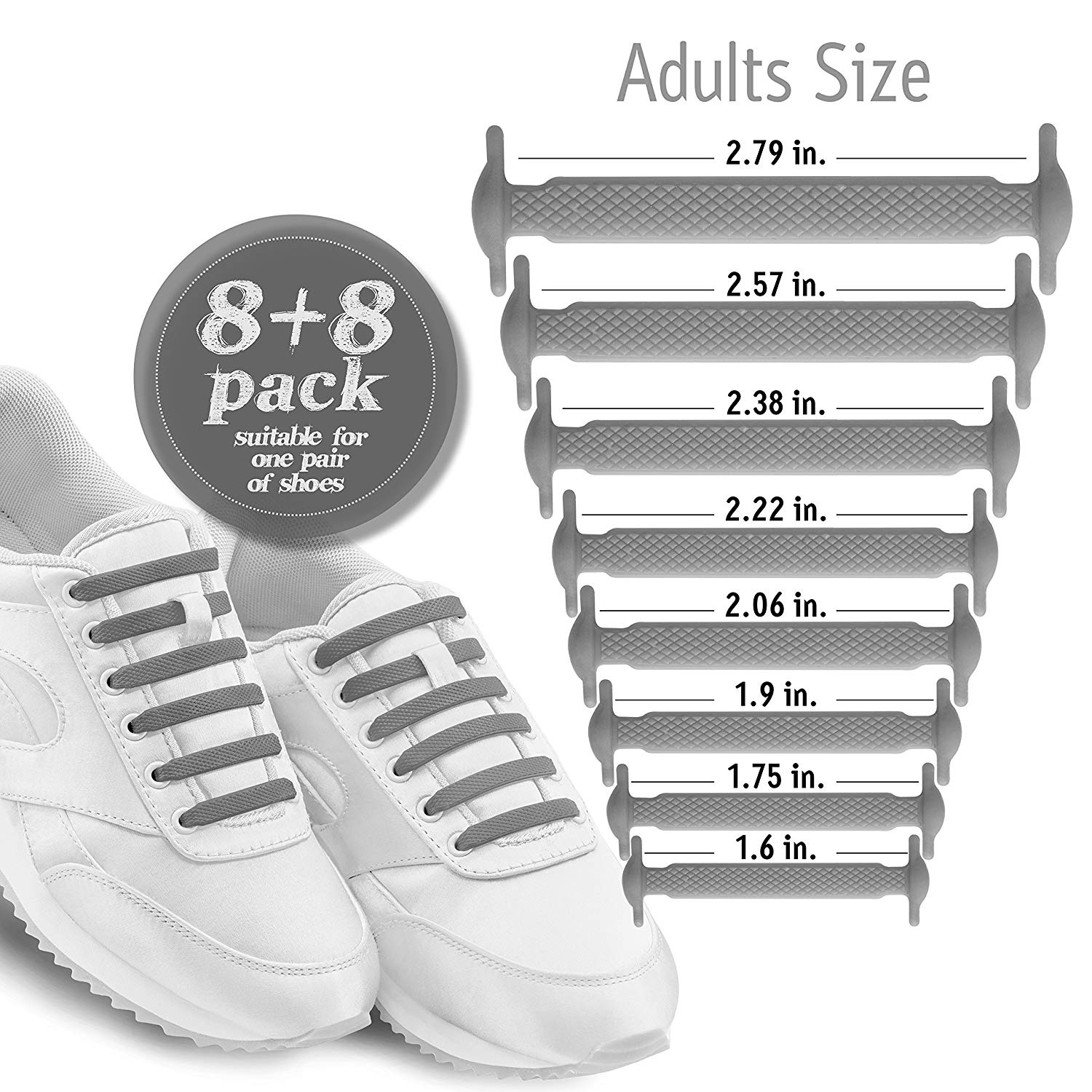 5de5c25cf79a1 Diagonal One No Tie Shoelaces for Kids & Adults. The Elastic Silicone Shoe  Laces to Replace your Shoe Strings. 16 Slip On Tieless Flat Silicon ...