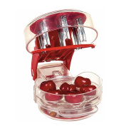Cherry Core Pitter Remover, EnTeck 6 Cherries Seed ABS Fruit Vegetable Tool for Baking Cooking, Red