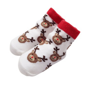 TRIEtree Children Christmas Socks Cute Santa Elk Snowflake Baby Full Cotton Socks Newborn Christmas Gift size 12-24 months