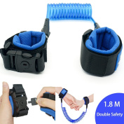 With lock Anti Lost Wrist Link, Leap-ss Wrist Straps Cotton Eco Friendly Skin Safe for Kids & Toddler-Blue 1.8m