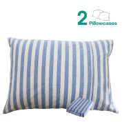 NTBAY 100% Organic Cotton Toddler Pillowcases Set of 2, Soft and Breathable, 33cm x 46cm , Blue and White