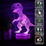 Gift Ideas Dinosaurs Night Lights 3D Illusion Lamp Animal Light Led Desk Lamps Anniversary Gifts for Baby Home Decor Office Bedroom Party Decorations Nursery Lighting 7 Colour Crackle Painted Base