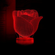 Rose Flower Romantic Gift Ideas Night Lights 3D Illusion Lamp Led Desk Unique Gifts for Her Home Decor Office Bedroom Wedding Party Decorations Baby Nursery Lighting 7 Colour Visual Red Roses Crackle