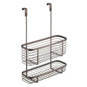 InterDesign Axis Over the Cabinet Kitchen Storage Organiser Basket for Aluminium Foil, Sandwich Bags, Cleaning Supplies - 2-Tier, Bronze
