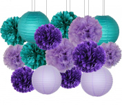 Furuix Mermaid Party Decorations /Under the Sea Party 16pcs Teal Lavender Purple 25cm 20cm Tissue Paper Pom Pom Paper Lanterns for Birthday Decor Baby Shower Decorations
