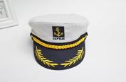sea-junop Classic Embroidery Sailor Hat Captain Costume Yacht Kids Cap(White)
