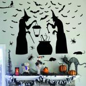 Ivenf Halloween Party Supplies Decorations Wall Decal Window Decor 2 Witches with Bats Spider Mouse & Crow