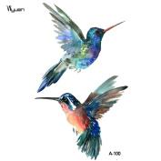 WYUEN 5 Sheets Bird Hummingbird Fake Tattoo Waterproof Temporary Tattoo Sticker For Women Men Body Art 9.8X6cm FA-100