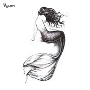 WYUEN 5 Sheets Mermaid Women Body Art Tattoo Sticker For Men Fake Waterproof Temporary Tattoo New Designs 10.5X6cm A-130