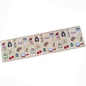 "NFS Polyester Fibre Kitchen Mat PVC Dots Anti-Slip Area Rug Cooking Utensils Printed Home Decorative Floor Mat 17"" x 68"""