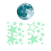 Leegoal(TM) Removable 30cm Moon Stars Glow in the Dark Sticker, Night Luminous Kids Room Wall Decal Stickers for Simulated Ideal Kids Decor or Adults, Perfect Gift Kids Boys Girls, Green