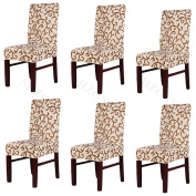 Beyonder 6Pcs Super Fit Polyester Stretch Removable Washable Jacquard Dining Chair Slipcovers Seat Protector Covers Non Fade