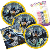 Batman Theme Plates and Napkins Serves 16 With Birthday Candles