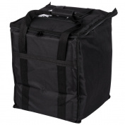 Tabletop king 33cm x 33cm x 39cm Black Soft-Sided Nylon Insulated Food Delivery Bag - Holds (6) 6.4cm Deep 1/2 Size Pans or 18-20.8l. Container