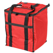 Tabletop king 33cm x 33cm x 39cm Red Soft-Sided Nylon Insulated Food Delivery Bag - Holds (6) 6.4cm Deep 1/2 Size Pans or 18-20.8l. Container