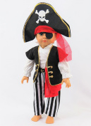 Eye Patch Pirate Halloween Costume| Fits 46cm American Girl Dolls, Madame Alexander, Our Generation, etc. | 46cm Doll Clothes
