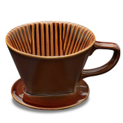 Asmwo Brown Ceramic Wide 4 Cups Coffee Dripper Single-Serving Coffee Dripper Pour Over Kit