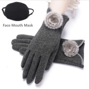 DeeFec Women's Screentouch Thick Warmer Weather Gloves Fashion Soft Comfortable Touch Screen Gloves + a free winter Face Mouth Mask