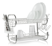 Francois et Mimi Two-Tier Fully Stainless Steel Dish Rack with Cutlery Rack