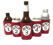 "Funny Neoprene Can Koozie/Coolers ""Bitch 2.5cm - 13cm Set - Red"