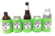 "Funny Neoprene Can Koozie/Coolers ""Bitch 2.5cm - 13cm Set - Neon Green"