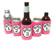 "Funny Neoprene Can Koozie/Coolers ""Bitch 2.5cm - 13cm Set - Hot Pink"