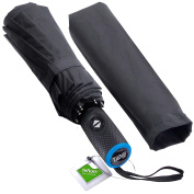 Tadge Goods Windproof Travel Umbrella with Automatic Open/Close (Black) Rain Resistant Canopy with Teflon Coating | Wind Proof Durability | Includes Carry Bag