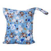 2-Zip Washable Baby Cloth Nappy Nappy Bag Monkey Heart Blue