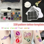 Glitter Tattoo Kit,SMYTShop Temporary Glitter Tattoo Make Up Body Glitter Body Art Design For kids Teenager Adult,with 24 Colours of Glitters,118 Sheet Uniquely Themed Tattoo Stencil