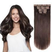 HEESAGA 30cm Clip in Extensions, Real Human Hair Extensions for Women Beauty, 80 Grams80ml 7 Pieces with 16 Clips per Set