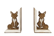 Icrafts Wooden Handcrafted Bookend Fox Shaped Pair Book Ends Rack Display Stand Holder Bookshelf Organiser Home Office Kids Room Library Decorative