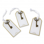 Kate Aspen Gold Key Escort Card (Set of 12) Gift Tags, Gold and White