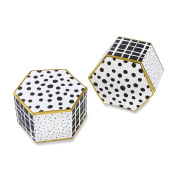 Kate Aspen Modern Classic Hexagon Favour Box (Set of 12), White, Black and Gold