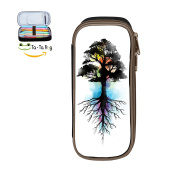 Cool Pen-Watercolour Tree Large Capacity Canvas Pen Pouch Pencil Stationery Case Double Zipper For Girls Boys-Black