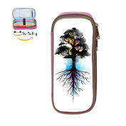 Cool Pen-Watercolour Tree Large Capacity Canvas Pen Pouch Pencil Stationery Case Double Zipper For Students-Pink