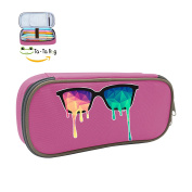 Cool Pen-Low Poly Glasses Pen Pencil Case Large Capacity Stationery Box multi-function Storage Bag For Children-Pink