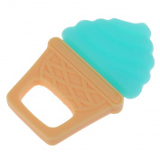 MonkeyJack Cute Newborn Unisex Baby Safe Soft Silicone Teether Toy - Blue, Ice Cream