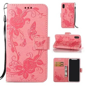 iPhone X Case, ARSUE iPhone X Wallet Case [3 Card Slots] [Stand Feature] Butterfly Flower PU Leather Flip Wallet Protective Case Cover for iPhone X 2017 - Pink