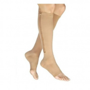 MSmask Breathable Nude Zipper Compression Knee Socks Open Toe Fitness Leg Support M & L