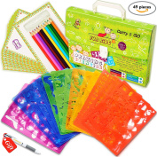Large Drawing Stencils Set for Kids (49-Piece) - Perfect Travel Activity and Creativity Kit, Arts and Crafts for Girls and Boys with over 300 Shapes, Educational Toys Age 3 to Teen, Ideal Kids Gifts